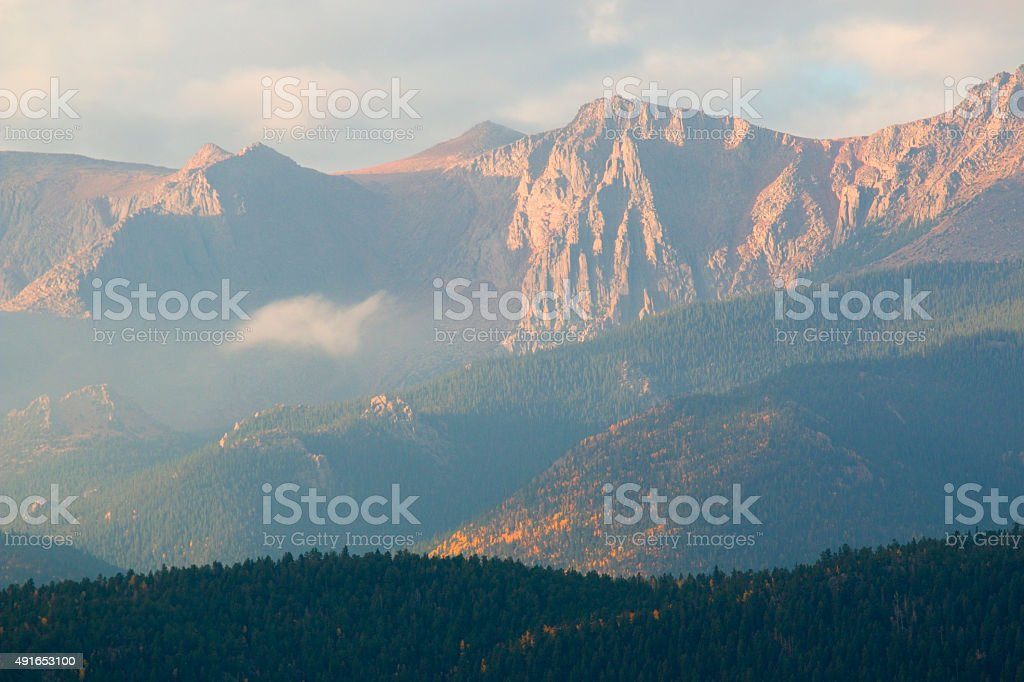 Pikes Peak Autumn on Bald Mountain Colorado stock photo