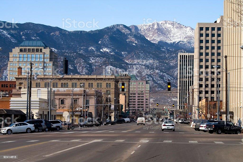 Pikes Peak Avenue Colorado Springs stock photo