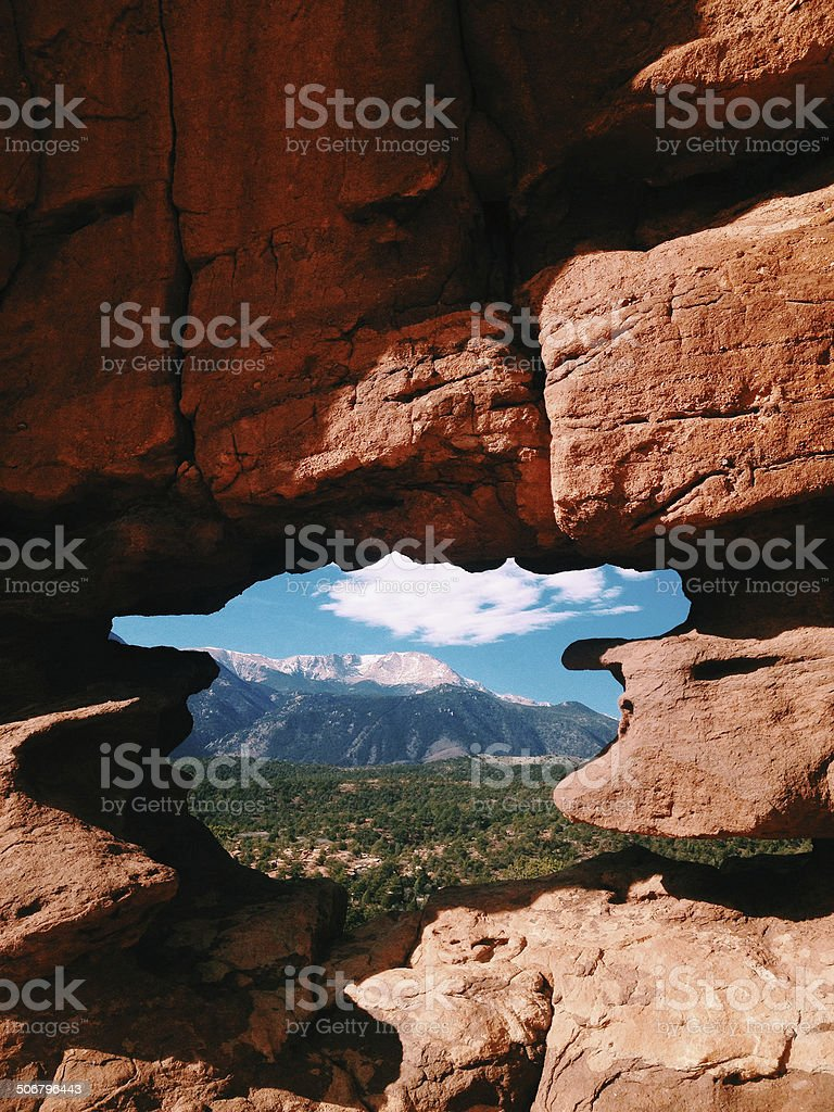 Pikes Peak from Garden of the Gods stock photo