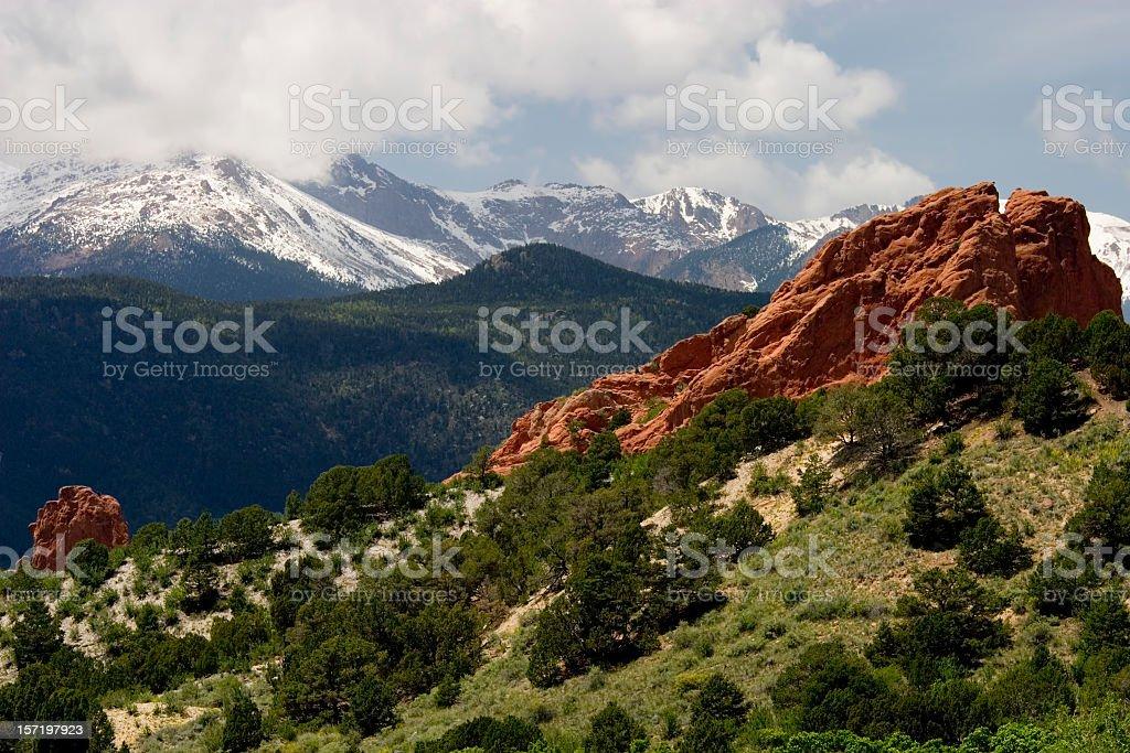 Pikes Peak & Garden of the Gods stock photo