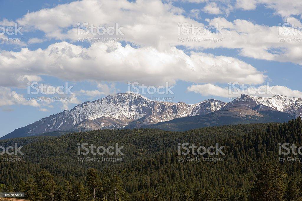 Pikes Peak in Spring stock photo