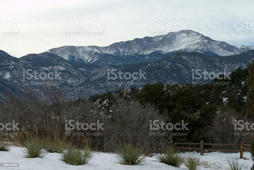 Pikes Peak in Winter royalty-free stock photo