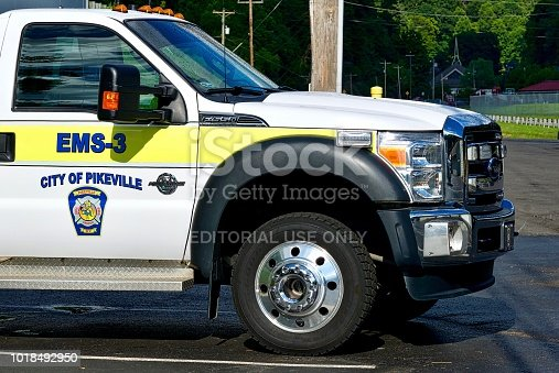 Pikeville, Kentucky, USA - July 23, 2018: Close-up view of the City of Pikeville first responder vehicle.