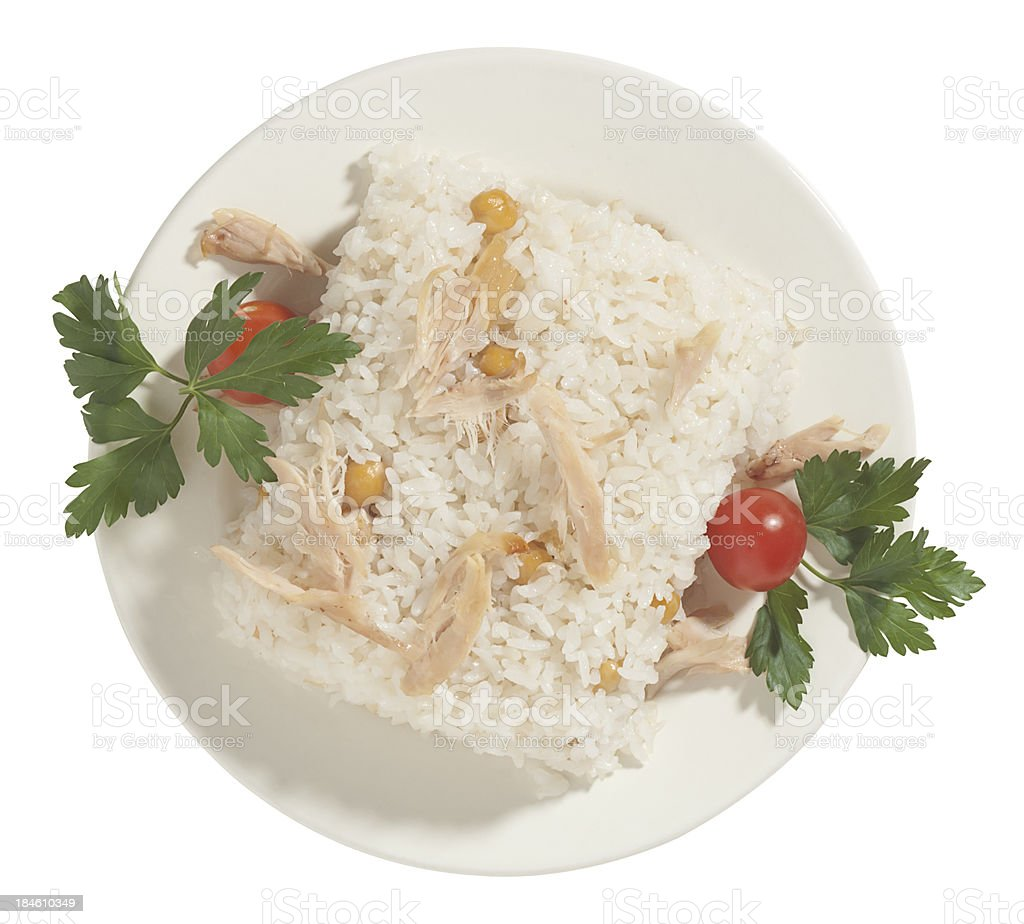 Pilaf Rice With Chicken Isolated On White Background Stock