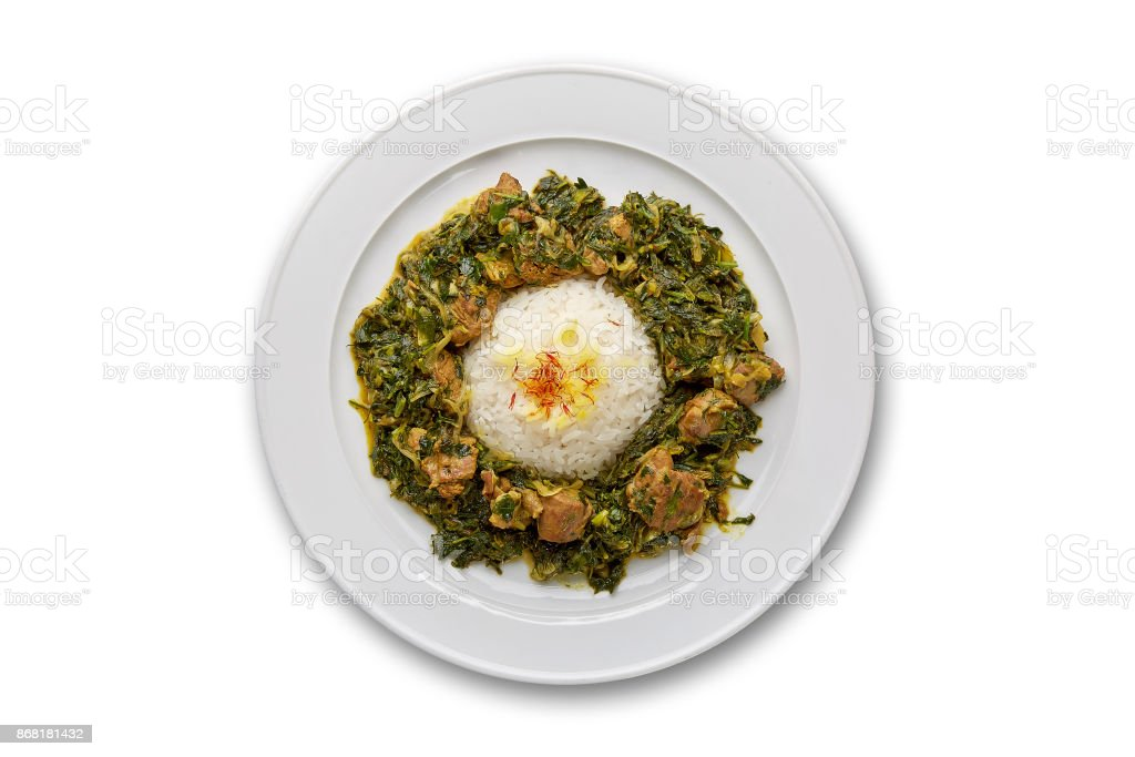 Pilaf sabzy with meat stock photo