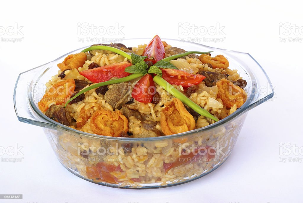 Pilaf with lamb and dried fruits royalty-free stock photo