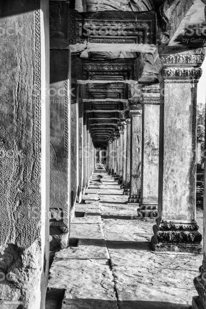 Pilar way in Angkor Wat stock photo
