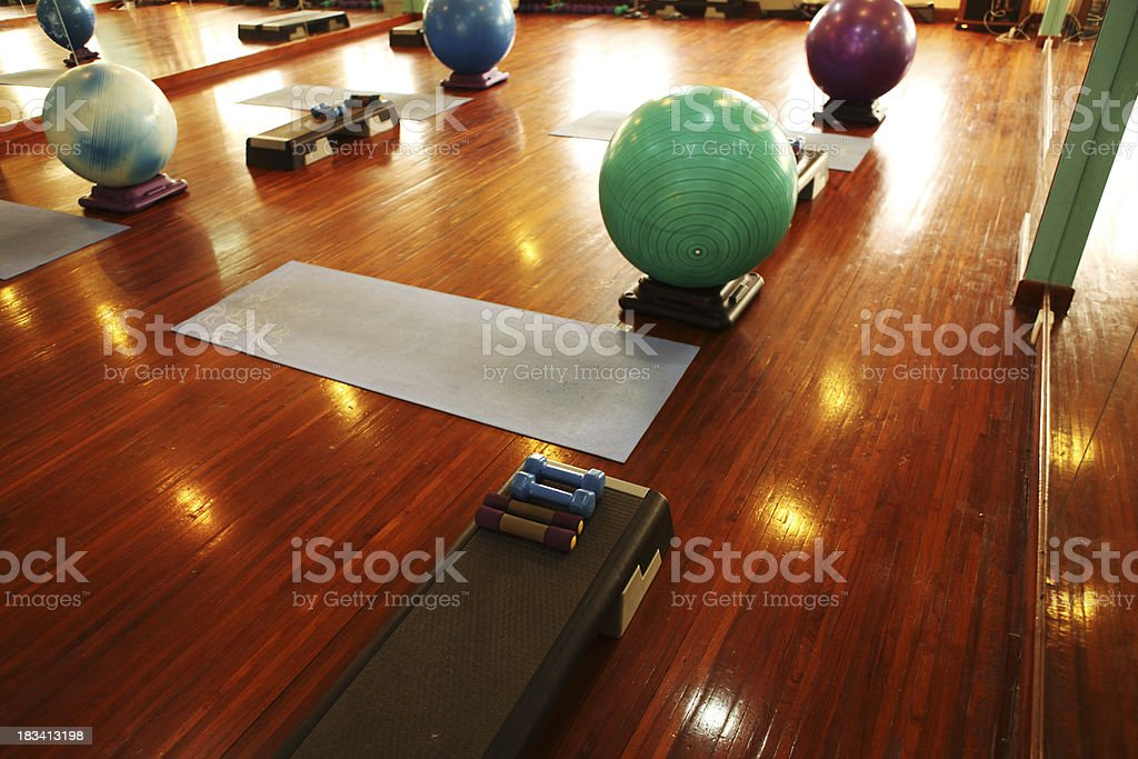 Pilates Aerobics Steps And Dumbbell High Angle View Stock Photo