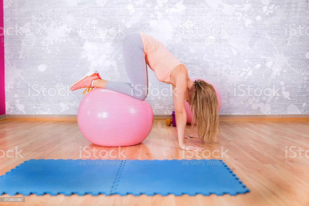 Pilates ball exercise stock photo