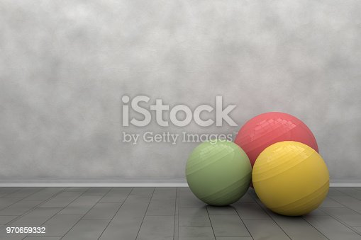 Pilates ball in front of empty wall, empty room, backgrounds, healthy lifestyle