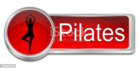 red pilates button - 3D illustration