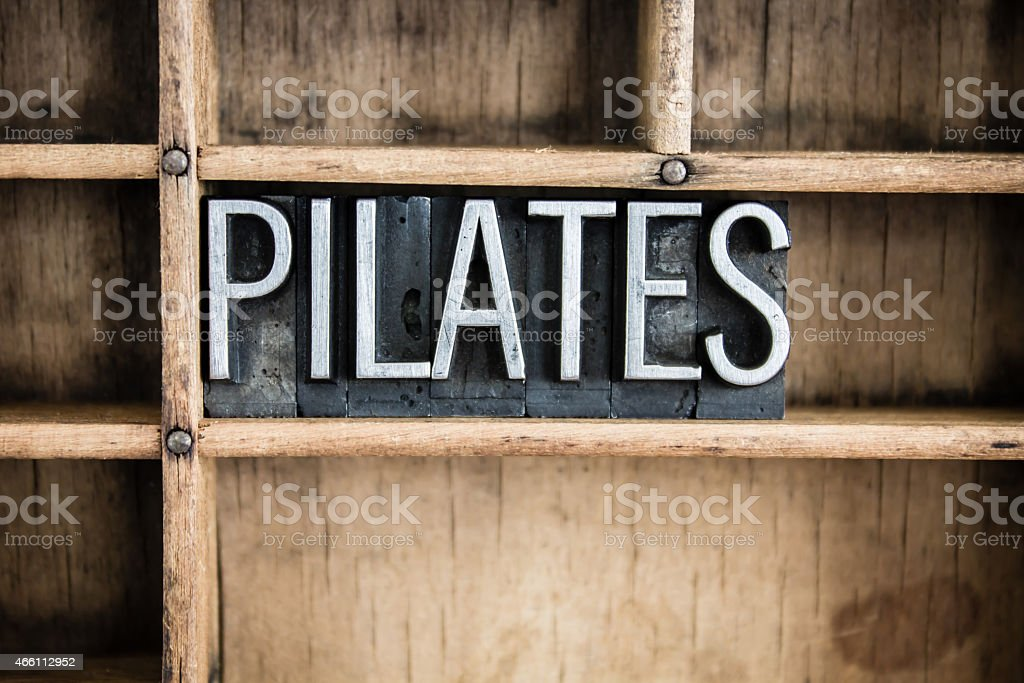 Pilates Concept Metal Letterpress Word in Drawer stock photo