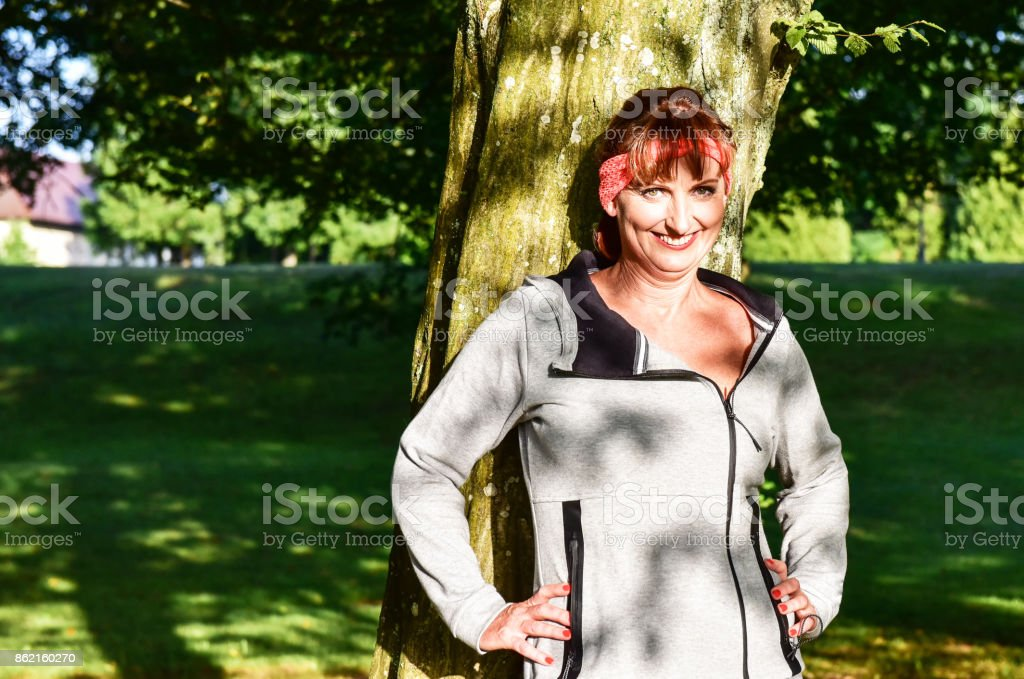 Pilates in the park stock photo