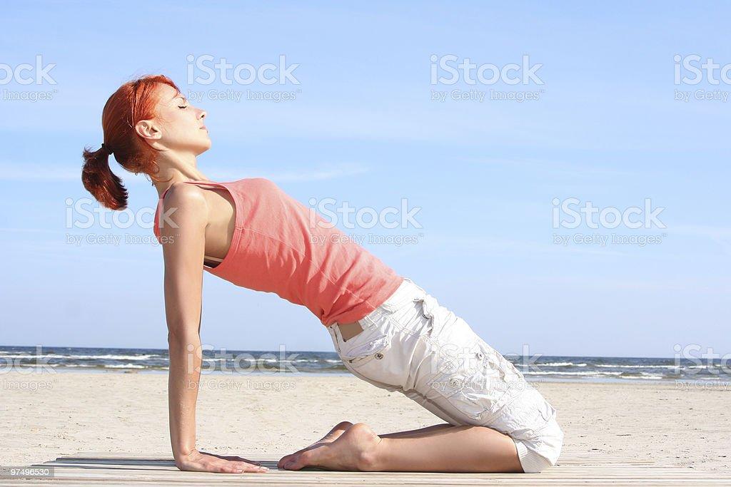 pilates on the sea royalty-free stock photo
