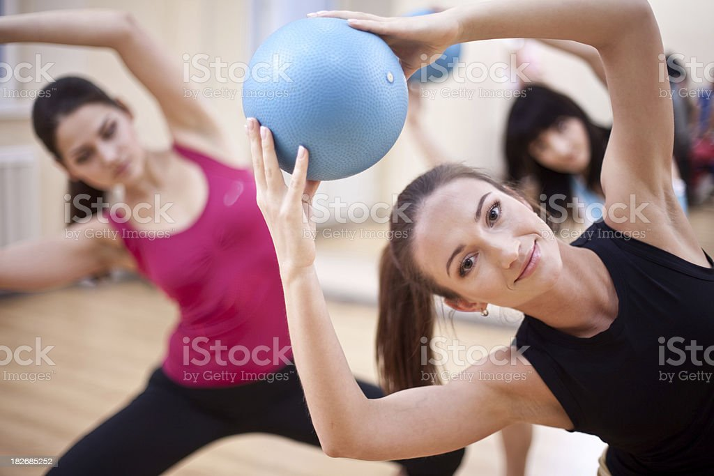 Pilates with balls royalty-free stock photo
