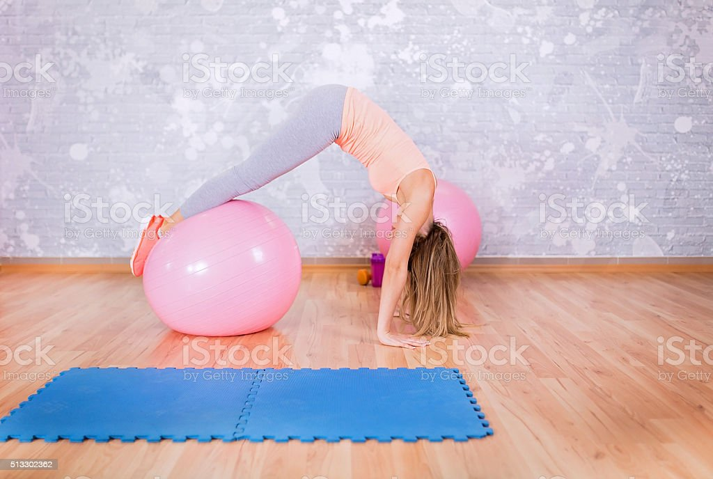 Pilates work out stock photo