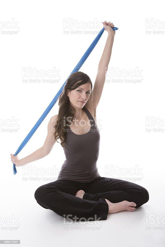 pilates yoga resistance band blue rubbe royalty-free stock photo