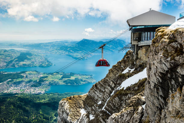 Pilatus Kulm and cable car, summit over Lake Lucerne, Switzerland, Europe Pilatus Kulm und Seilbahn, Gipfel über dem Vierwaldstättersee, Schweiz, Europa switzerland stock pictures, royalty-free photos & images