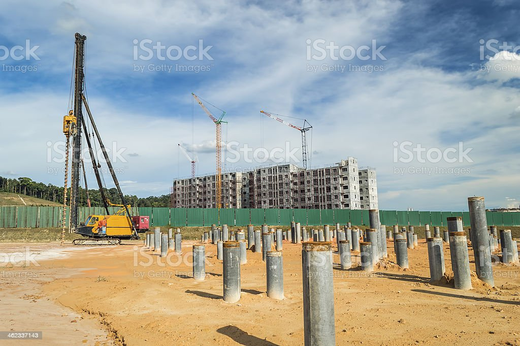 Pile at  construction site stock photo