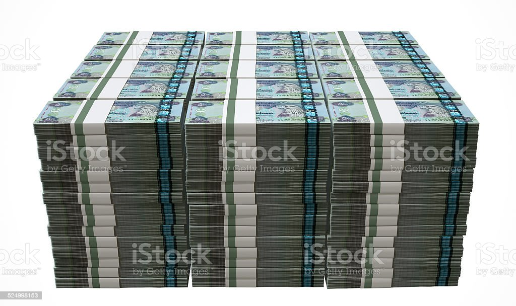 Pile Dirham Bank Notes stock photo