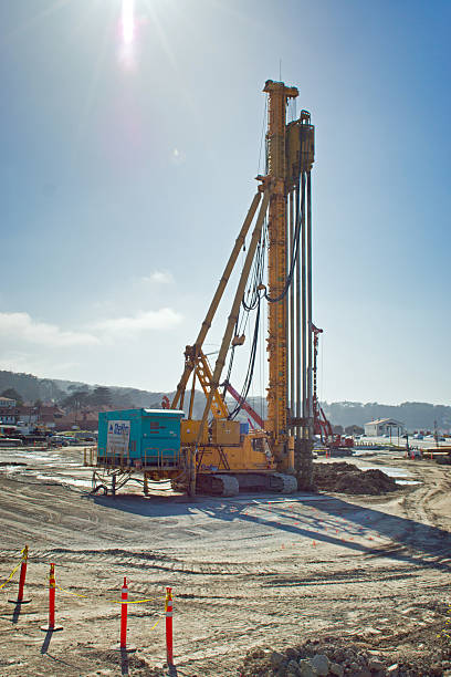 pile driver - pillar drill stock photos and pictures