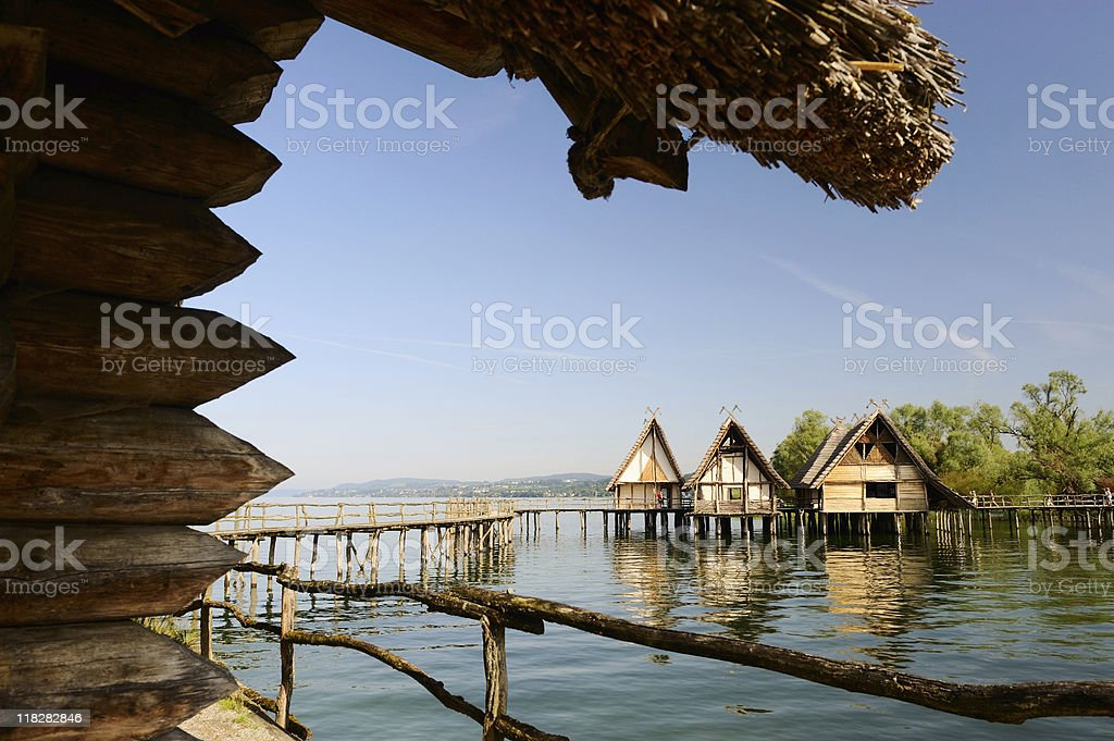 Pile Dwelling Houses in Unteruhldingen Lake Constance Roof View stock photo