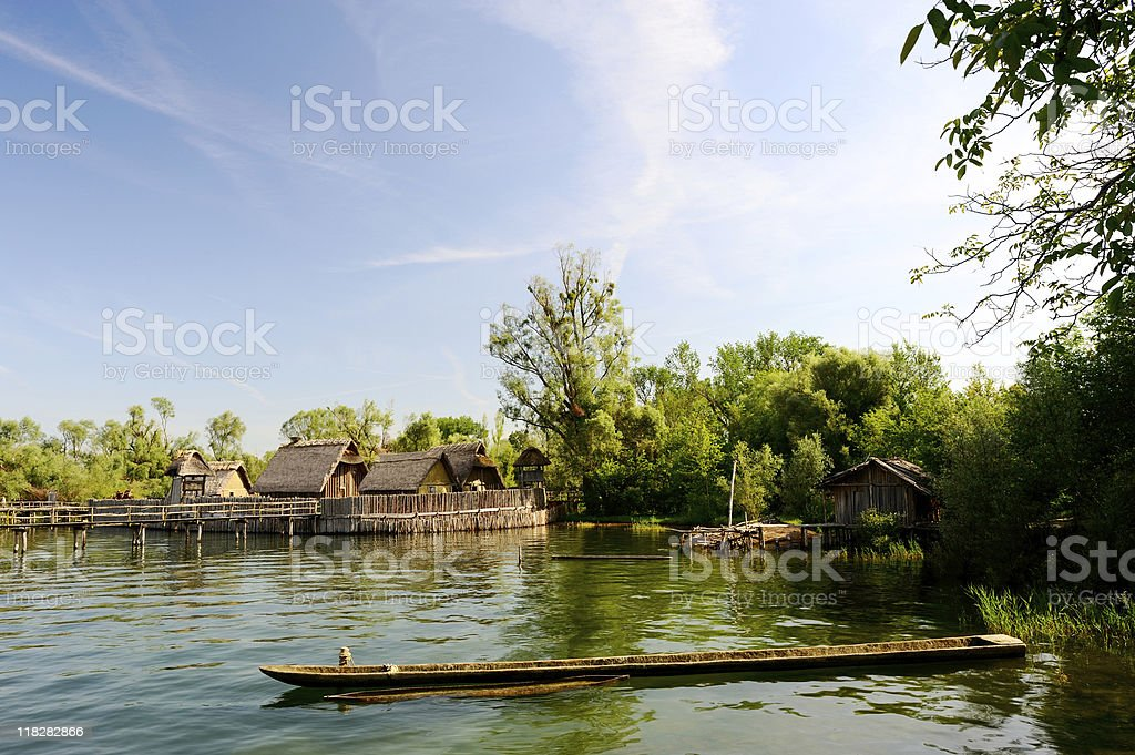 Pile Dwelling Town at Lake Constance Coast View Summer stock photo