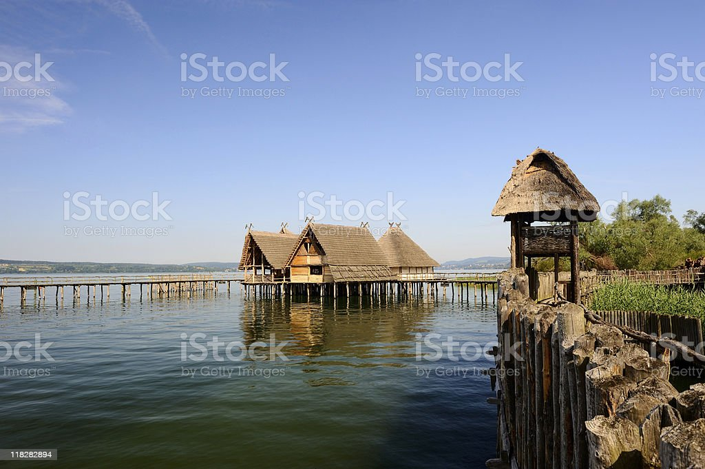 Pile Dwelling Town at Lake Constance Unteruhldingen Summer stock photo