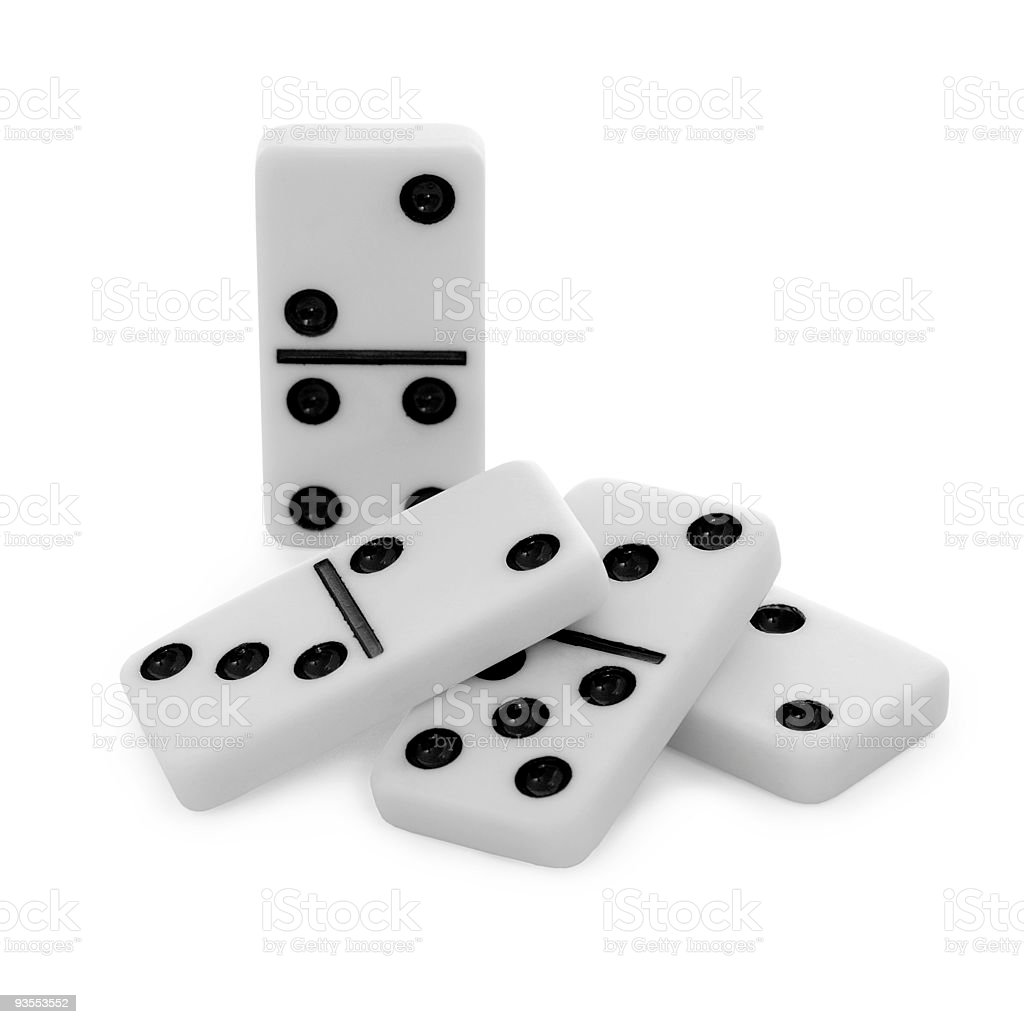 Pile from bones of dominoes on white background stock photo