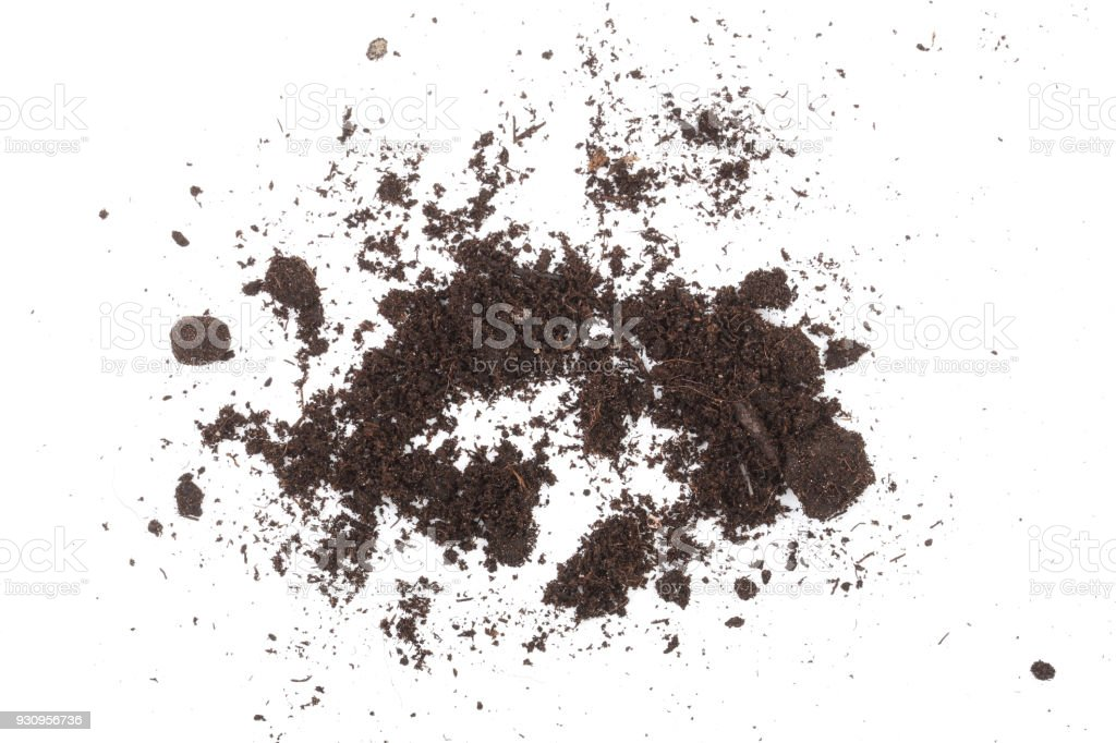 Pile heap of soil isolated on white background stock photo