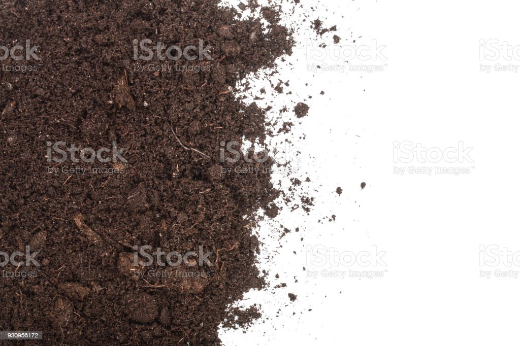 Pile heap of soil isolated on white background with copy space for your text. Top view stock photo