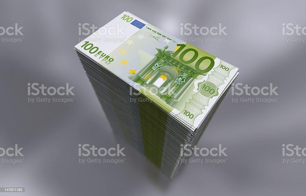 Pile of 100 Euro notes stock photo