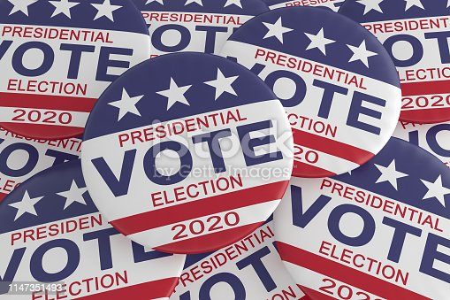 USA Politics Election News Badges: Pile of 2020 Presidential Election Vote Buttons With US Flag, 3d illustration