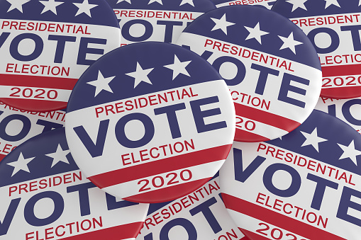 istock Pile of 2020 Presidential Election Vote Buttons With US Flag, 3d illustration 1147351493