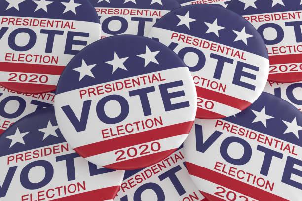 pile of 2020 presidential election vote buttons with us flag, 3d illustration - выборы президента стоковые фото и изображения