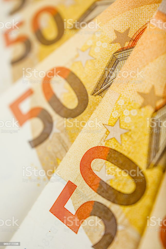 Pile of 50 euro notes - business background royalty-free stock photo