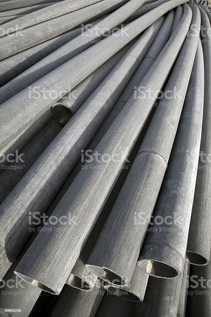 Pile of 50 Foot ABS Drain Pipes, Top View. royalty free stockfoto