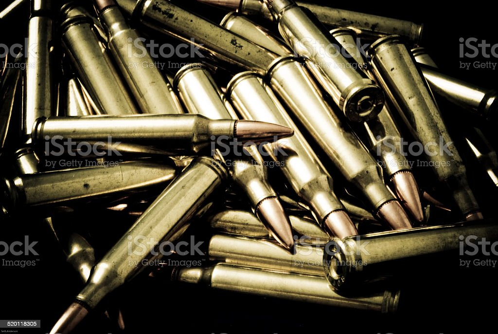 Pile of 5.56/.223 rifle Ammunition stock photo