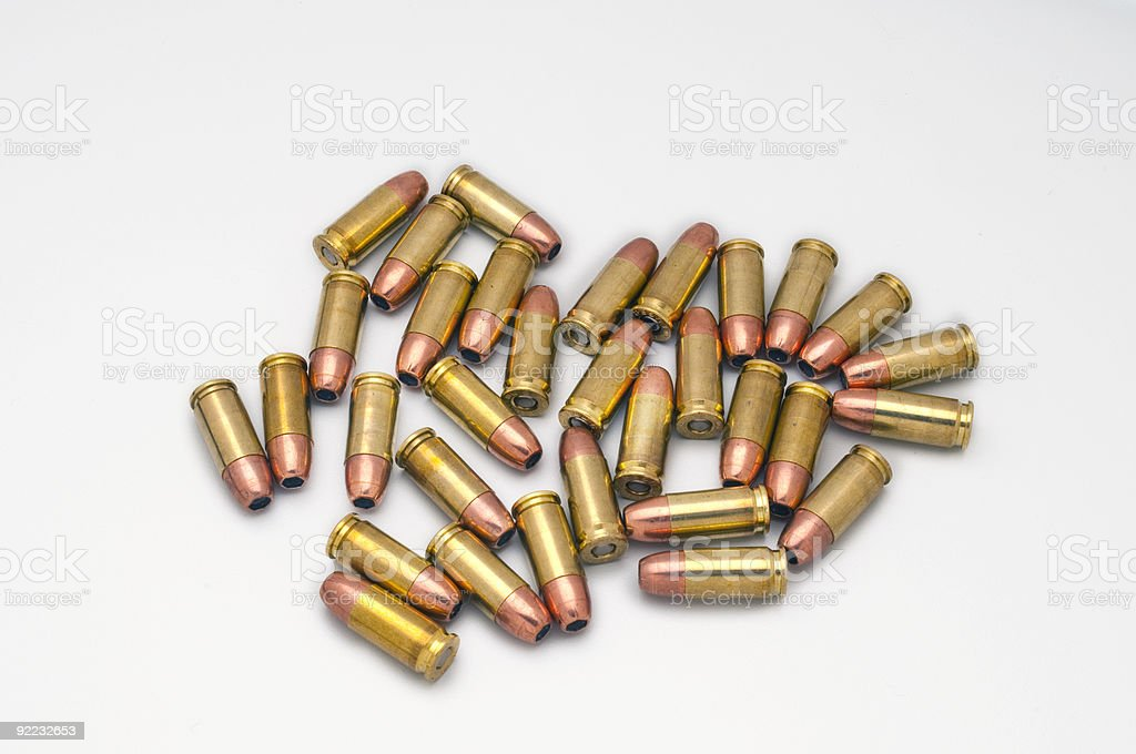 pile of 9mm hollow pionts stock photo