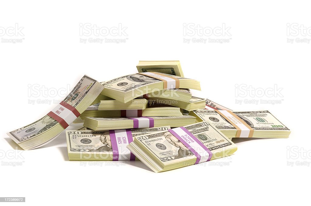 pile of American cash royalty-free stock photo