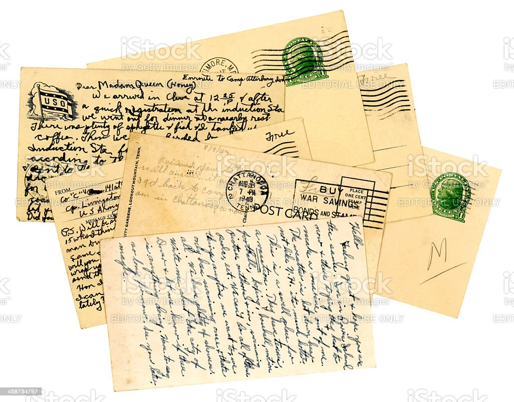 Pile of American servicemen's postcards, World War Two stock photo