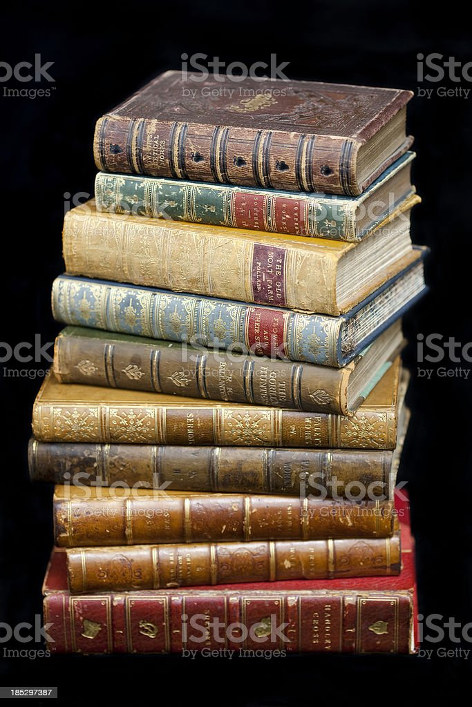 Pile of Antique Books royalty-free stock photo