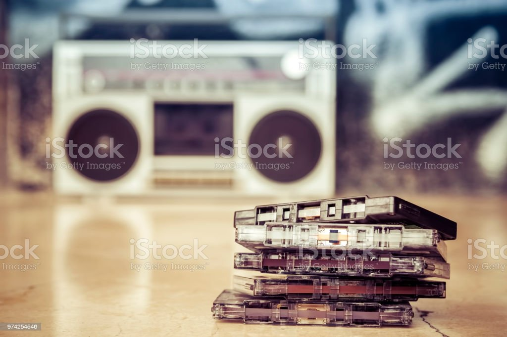 Audio cassettesstacked and placed on the ground at obsolete record...