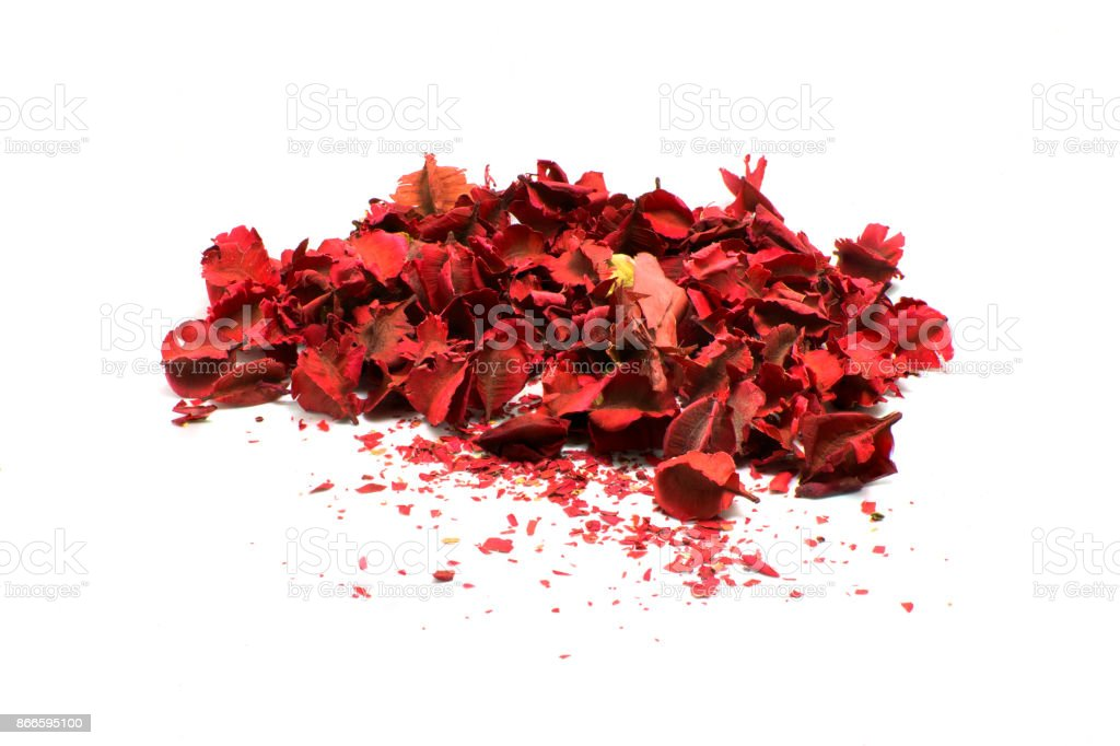 A pile of autumn leaves with red color paint stock photo