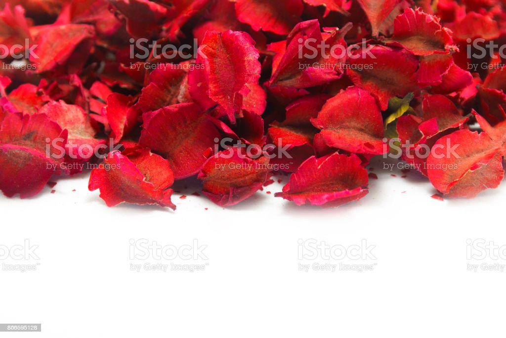 A pile of autumn leaves with red color paint. stock photo