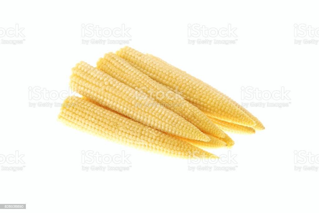 Pile of baby corn isolated stock photo