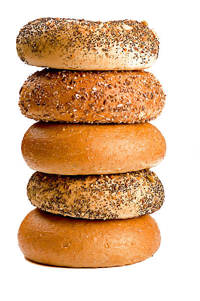 pile of bagels stock photo