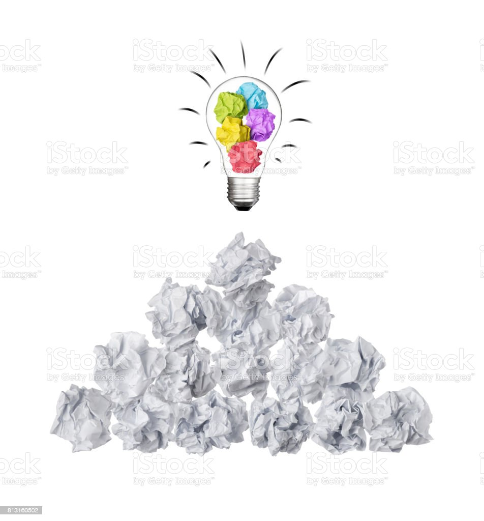 pile of ball paper crumpled with colorful paper in lightbulb