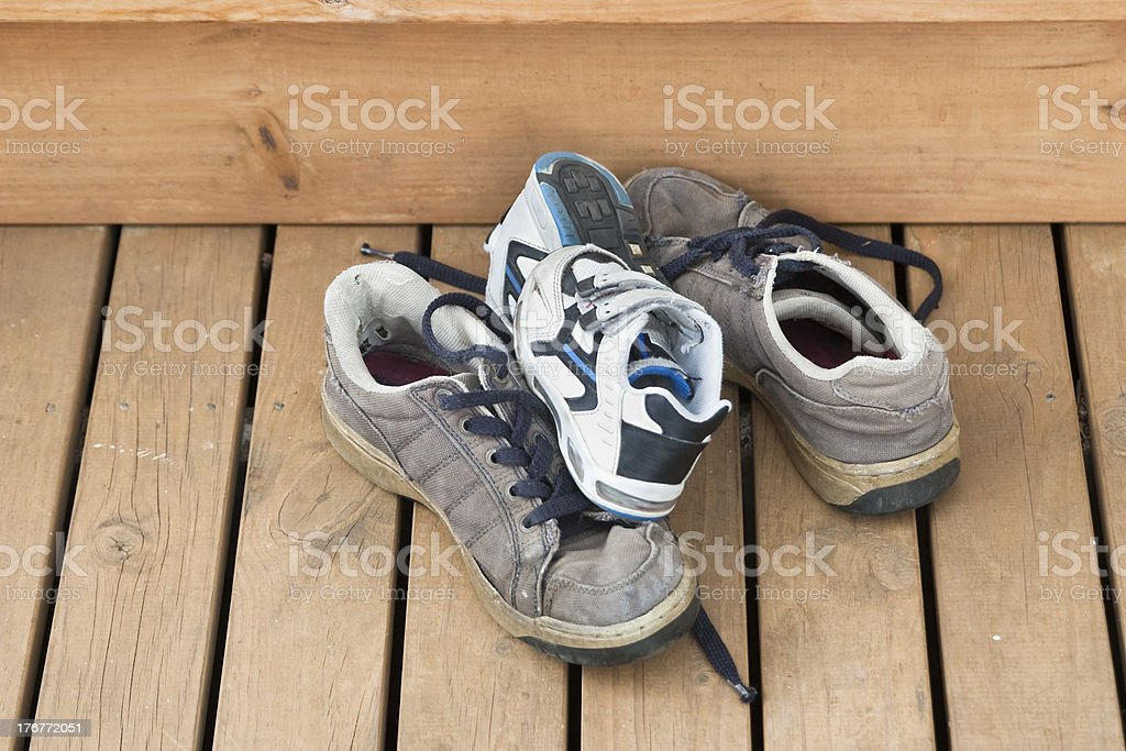 Pile of big and small shoes royalty-free stock photo