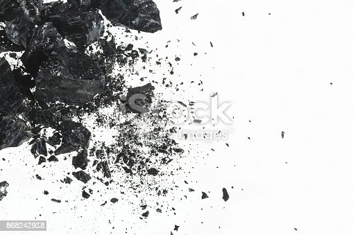 istock Pile of black coal bars isolated on white background 868242938